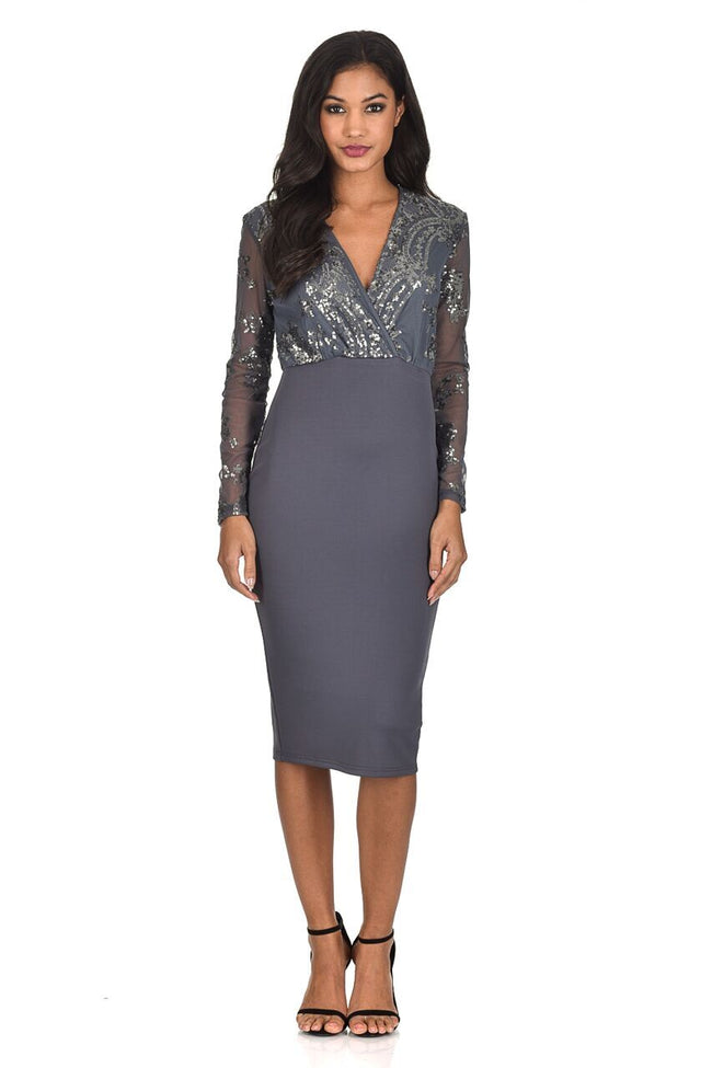 Pewter Sequined Crossover Bodycon Dress