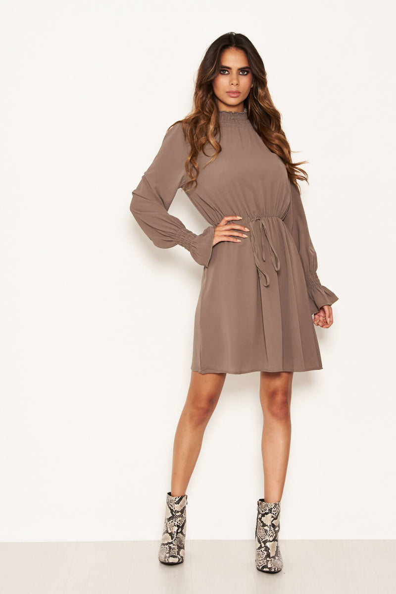 Pewter High Neck Skater Dress