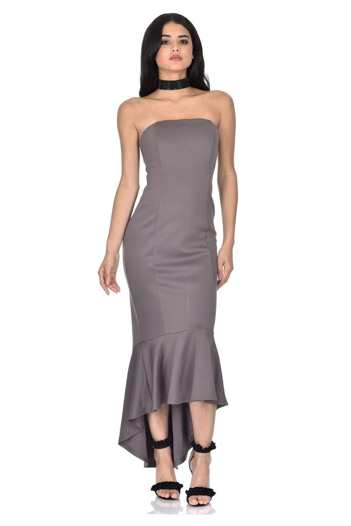 Pewter Strapless Fishtail Dress