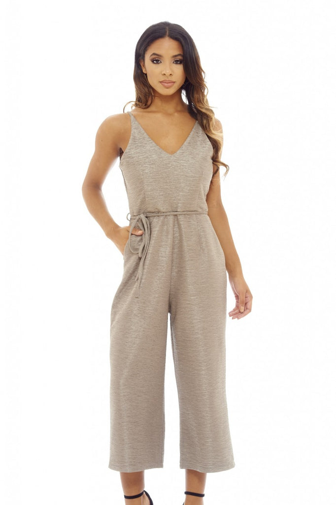 Grey Textured Culotte Jumpsuit