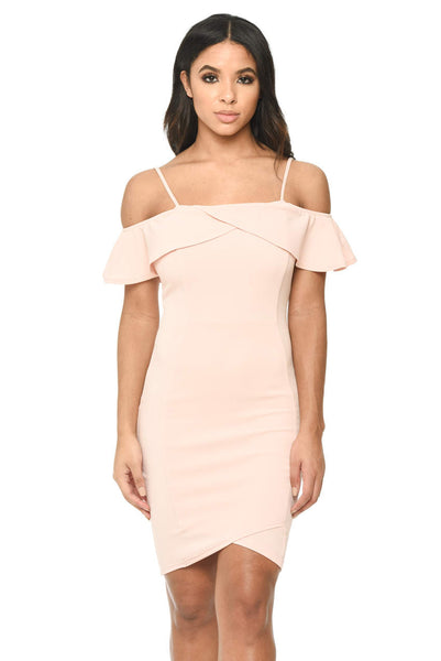 Pink Bodycon Midi Dress Featuring A Bardot Frill