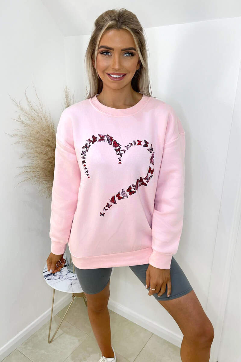 Pink Butterfly Printed Oversized Sweatshirt