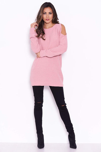 Pink Chenille Jumper With Cold Shoulder