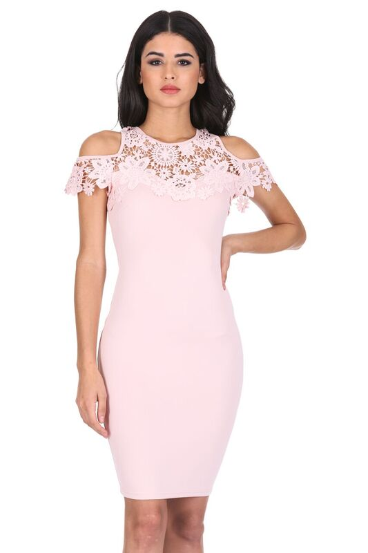 Pink Cold Shoulder Crochet Dress
