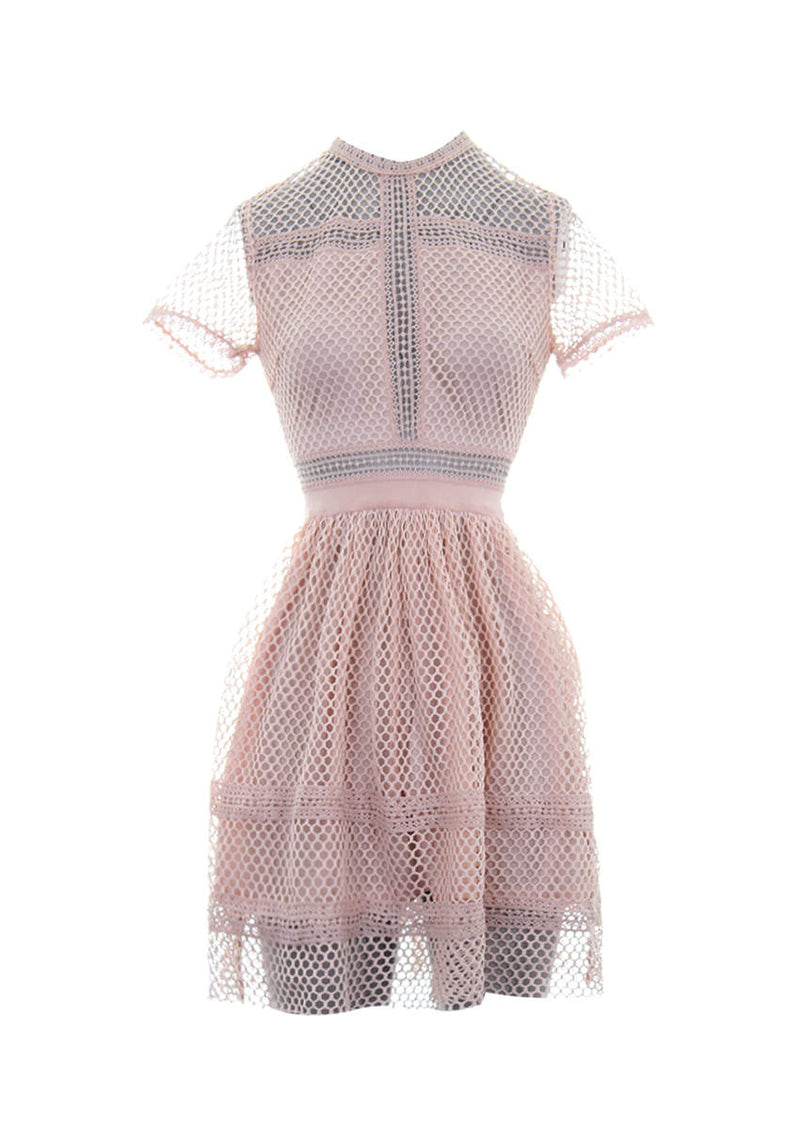 Pink Crochet High Neck Dress