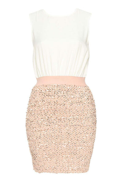 Pink Elasticated Sequin Mini Dress