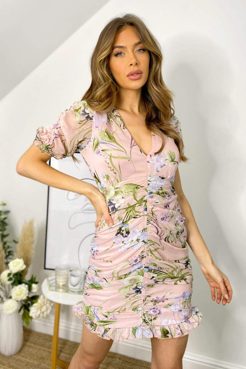 Pink Floral Chiffon Ruched Mini Dress
