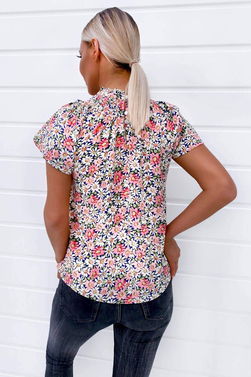 Pink Floral High Neck Frill Sleeve Top