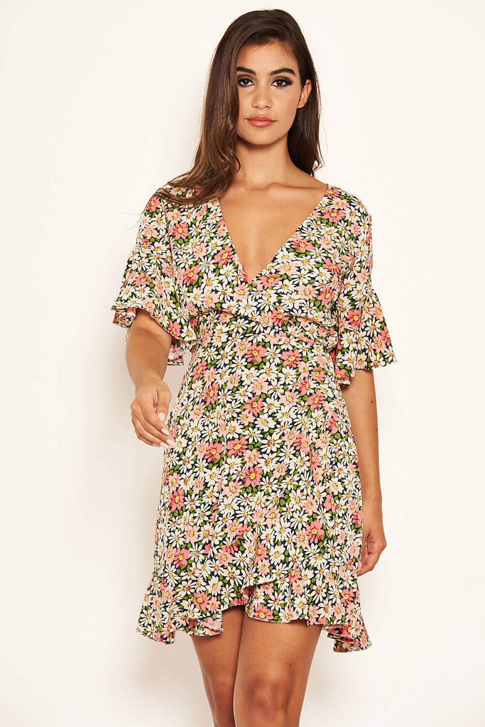 Pink Floral Wrap Frill Dress