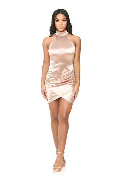 Pink Halter Neck Crossover Mini Dress