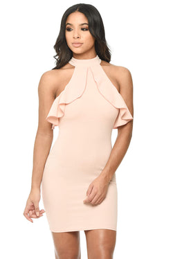 Pink High Neck Cold Shoulder Bodycon Dress With Frilled Detail