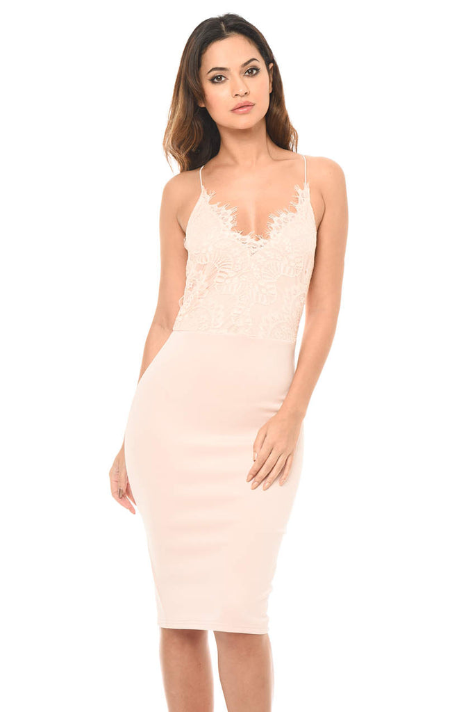 Pink Lace Detailed Midi Dress With Spaghetti Straps
