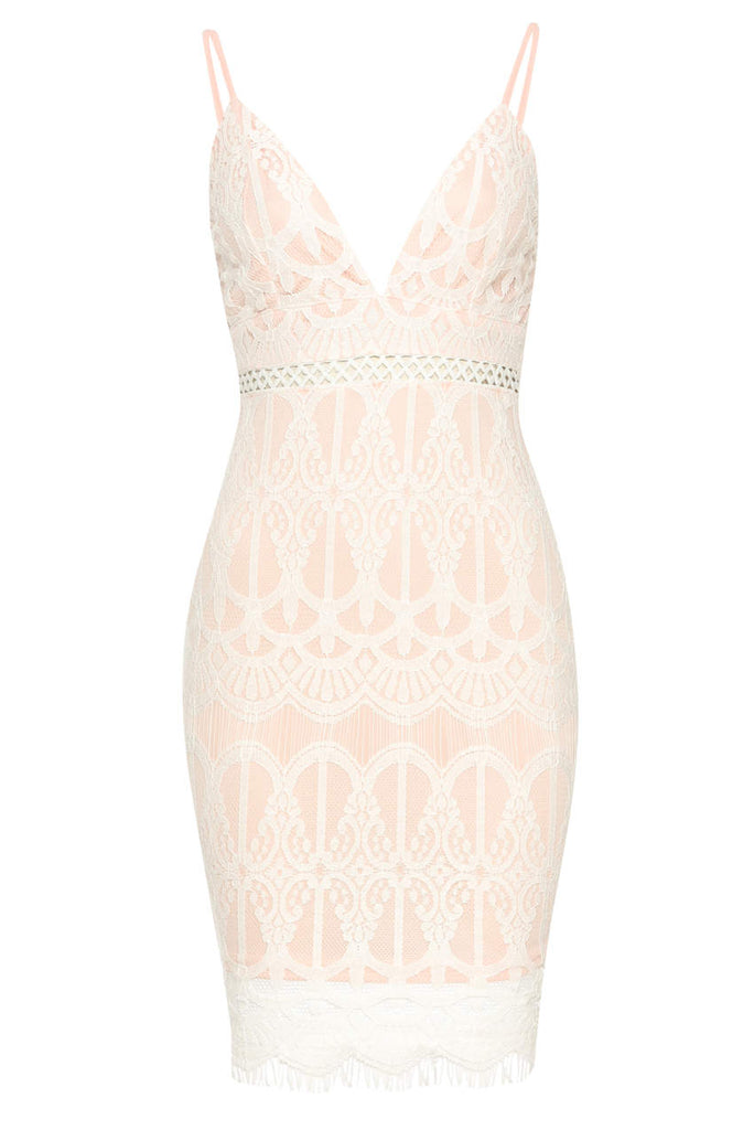 Pink Lace Fitted Mini Dress