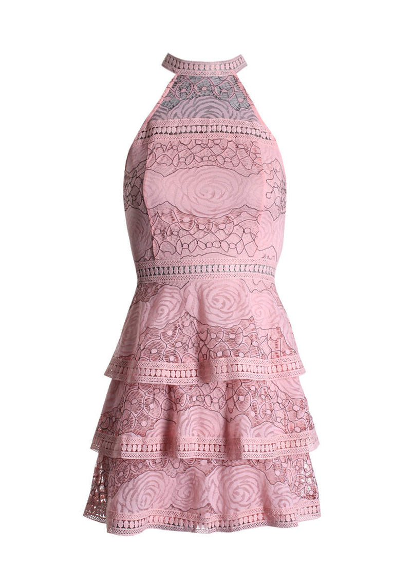 Pink Lace High Neck Tiered Dress