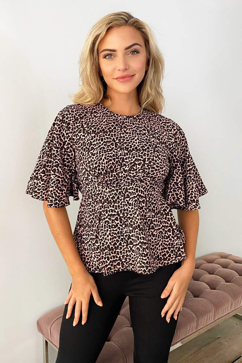Pink Leopard Print Flared Blouse