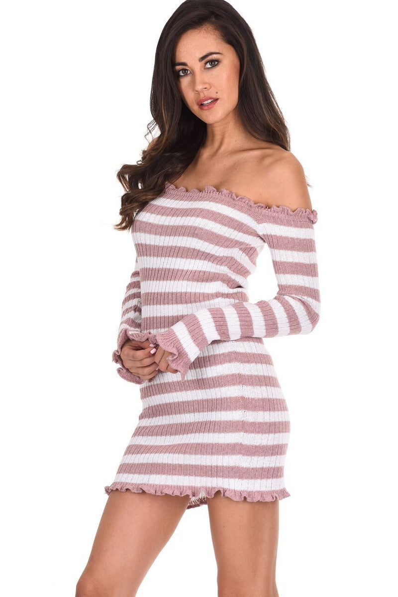 Pink Striped Off The Shoulder Knit Dress