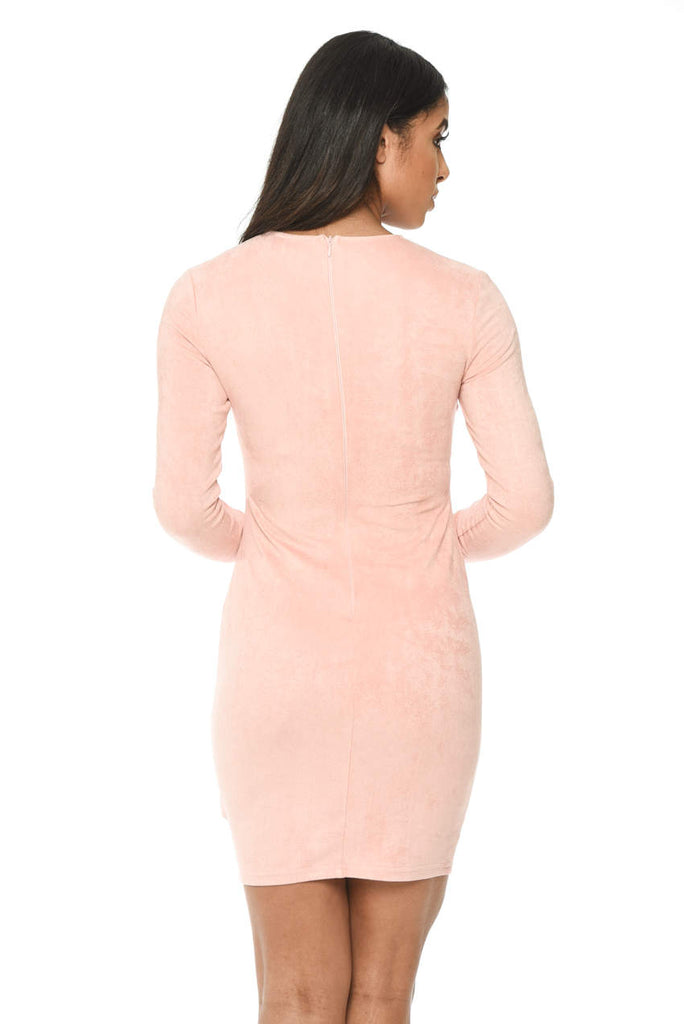 Pink Suede Strappy Bodycon Dress