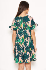 Pink Tropical Tiered Dress
