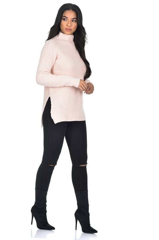 Pink High Neck Side Split Jumper