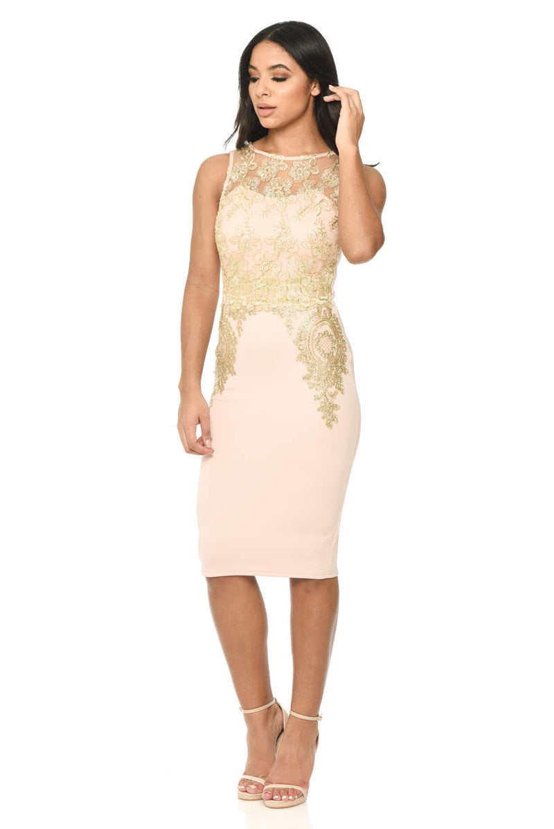 Pink and Gold Crochet Bodycon Dress
