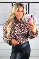 Plum Animal Print High Neck Elasticated Top
