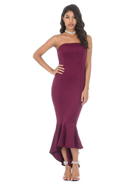 Plum Bandeau Fishtail Dress