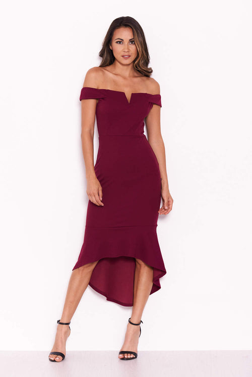 Plum Bardot Fishtail Midi Dress