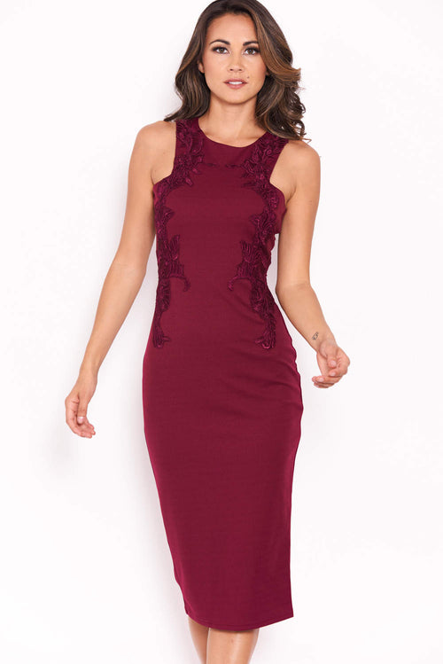 Plum Bodycon Dress With Floral Embroidery