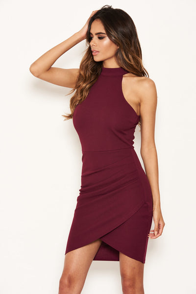 Plum Choker Neck Ruched Detail Bodycon Dress