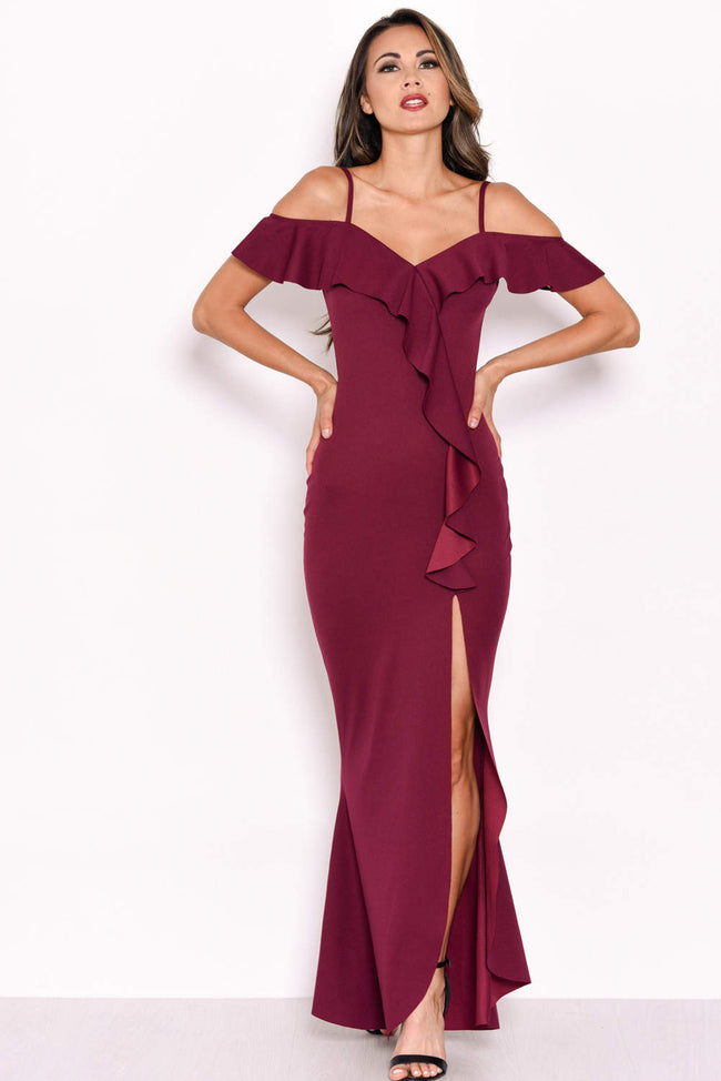 Plum Cold Shoulder Frill Detail Split Dress