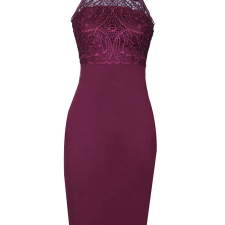 Plum Crochet High Neck Midi Dress