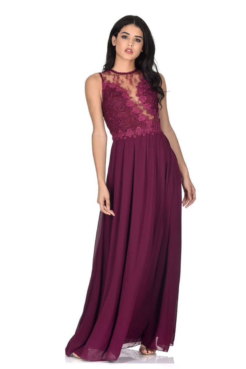 Plum Crochet Top Maxi Dress