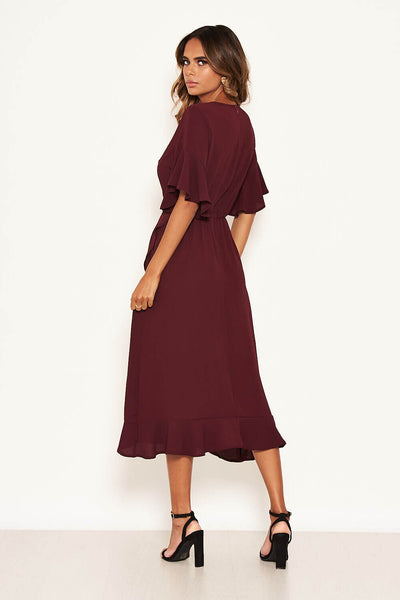 Plum Midi Dress With Frill Hem And Sleeves