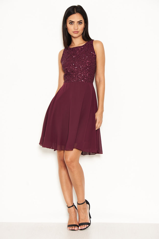 Plum Embellished Skater Dress