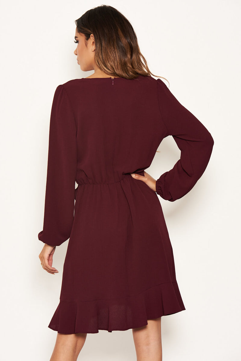 Plum Frill Wrap Long Sleeve Dress