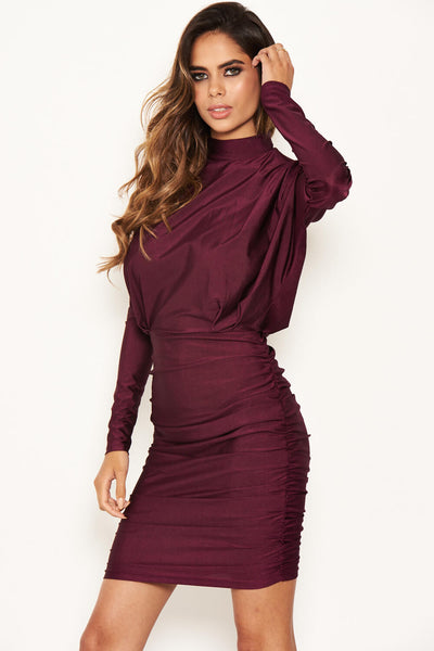 Plum High Neck Long Sleeve Ruched Dress