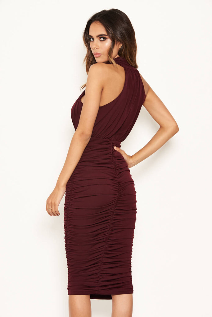 Plum High Neck Ruched Bodycon Midi Dress