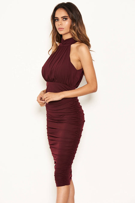 Plum Halter-Neck Lace Detail Bodycon Midi Dress