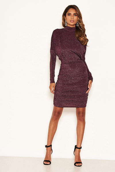 Plum High Neck Ruched Sparkle Dress