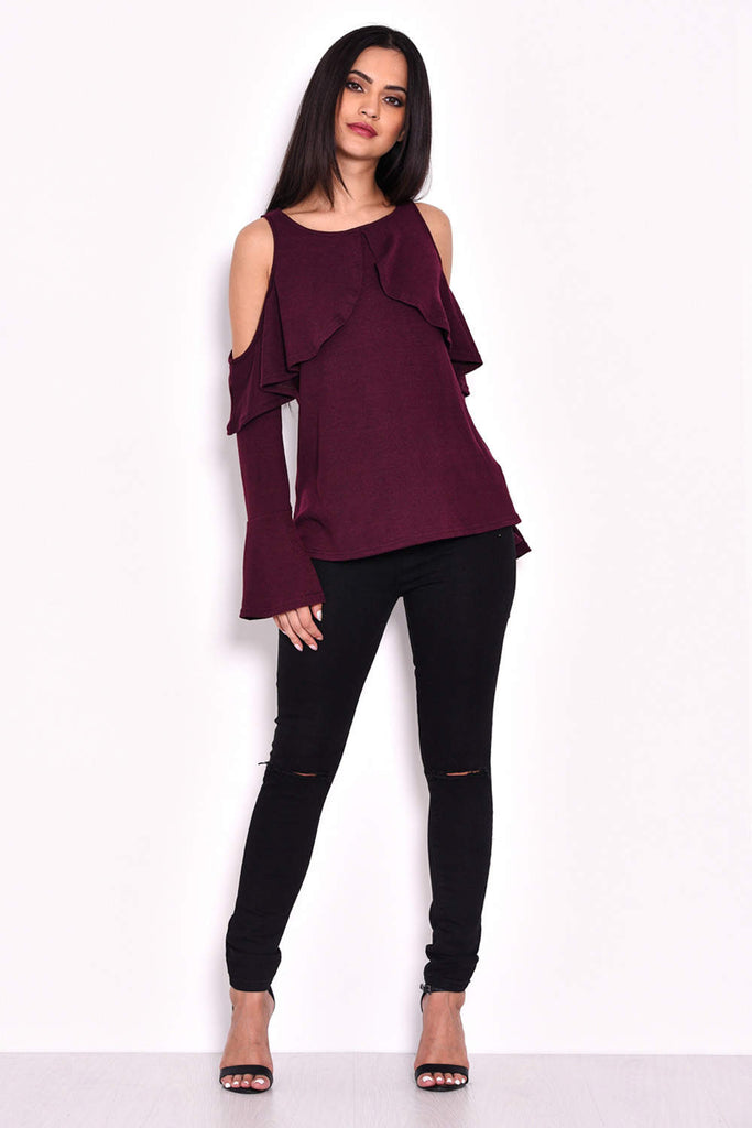 Plum Knitted Cold Shoulder Top