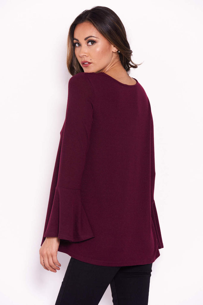 Plum Knitted Top With Frill Detailed Sleeves