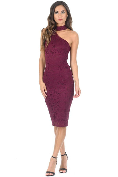 Plum Lace Choker Bodycon Dress
