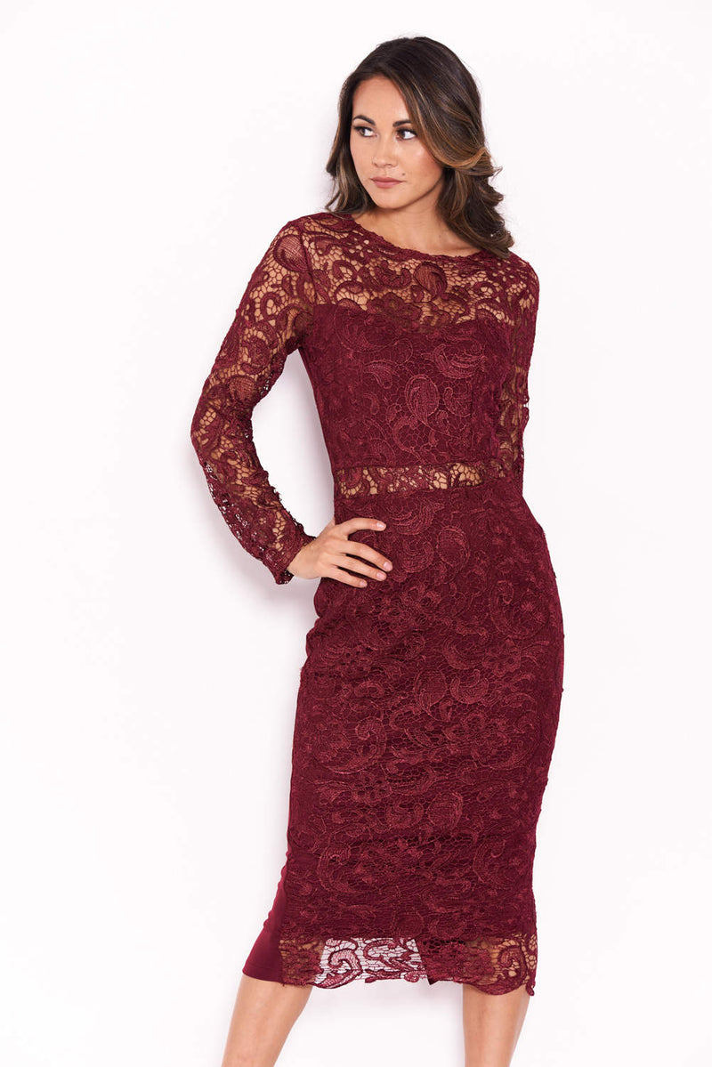 Plum Lace Front Midi Dress
