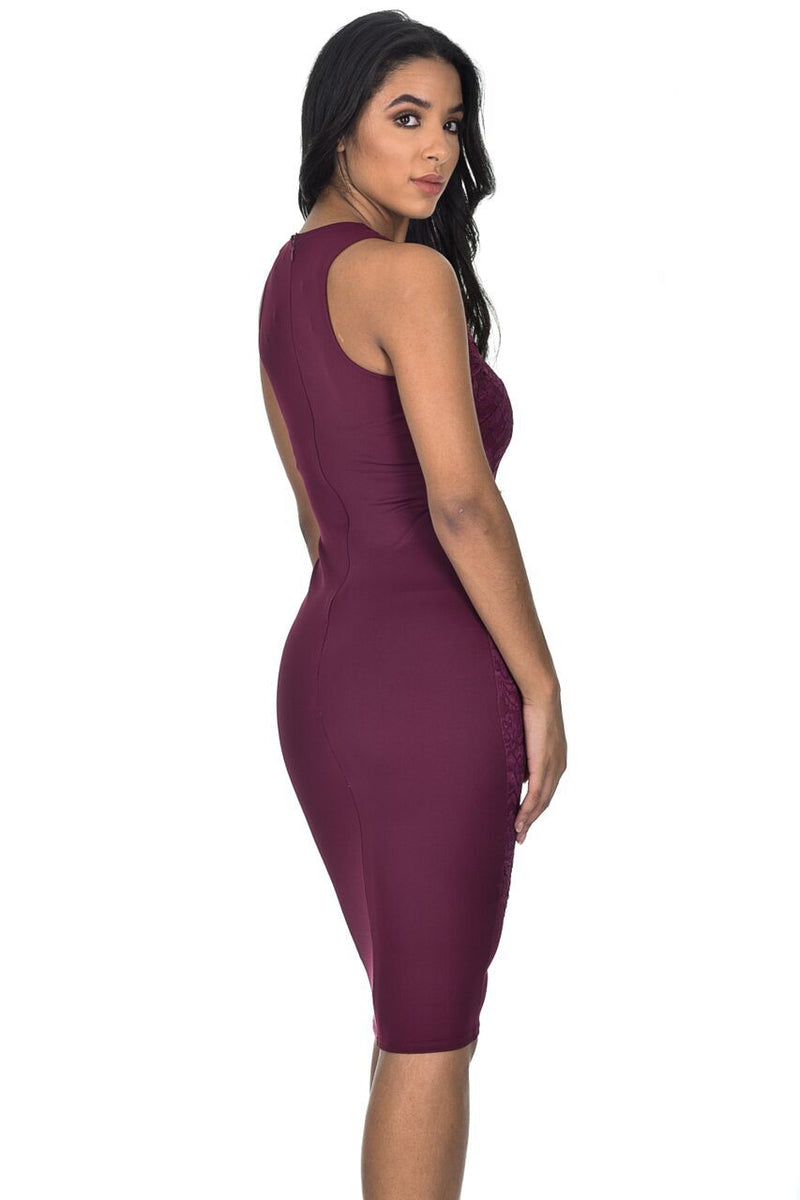 Plum Lace Midi Bodycon Dress