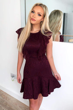 Plum Lace Tie Front Frill Dress