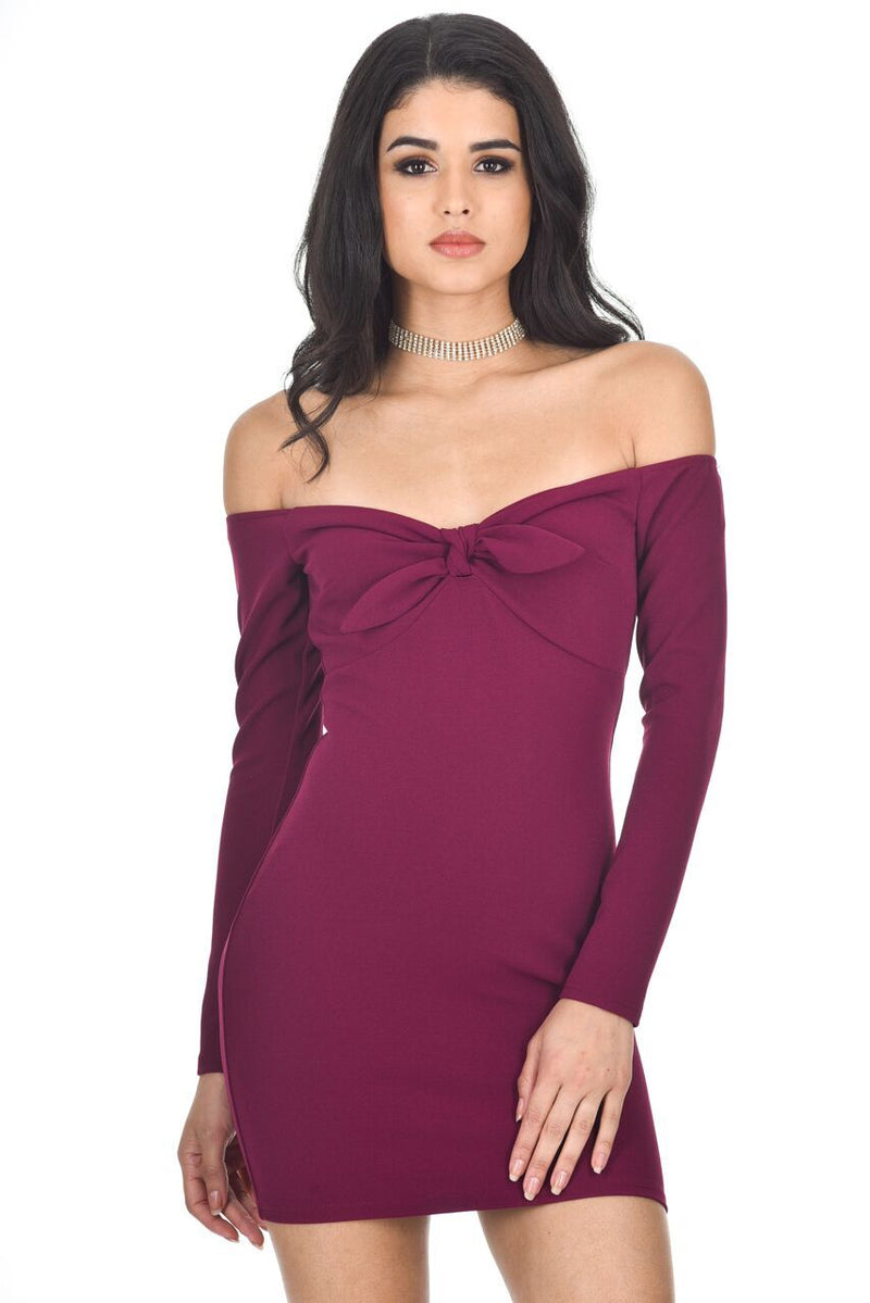 Plum Long Sleeve Off The Shoulder Midi Dress