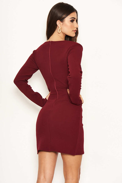 Plum Long Sleeve Wrap Over Dress