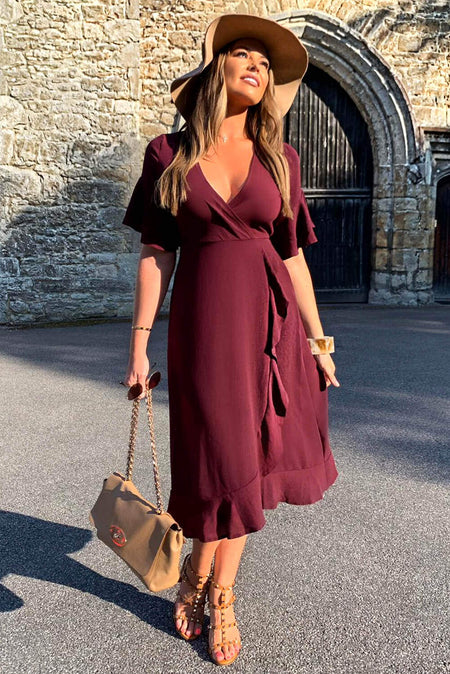Khaki Leopard Print Wrap Midi Dress