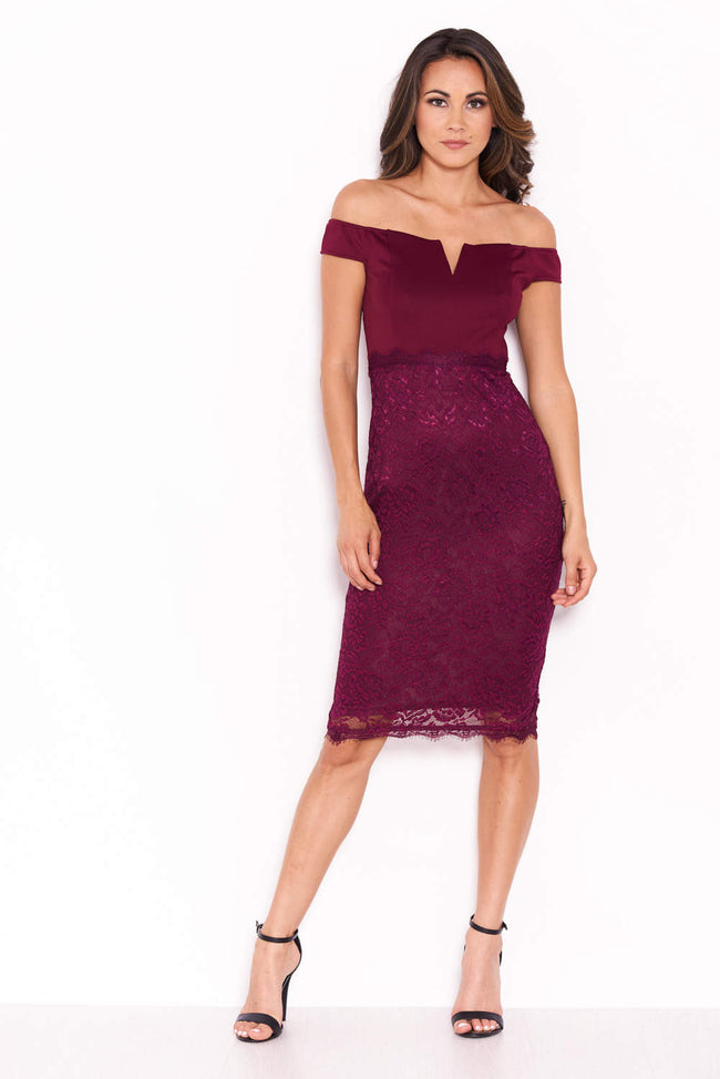 Plum Notch Front Lace Detail Midi Dress