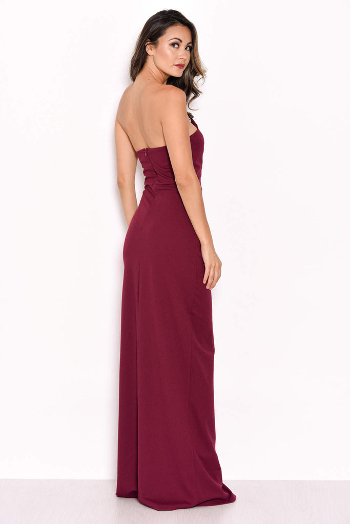 Plum Notch Front Maxi Dress